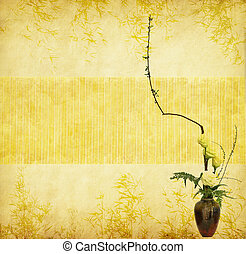 Bouquet of flower and plant in a vase on a grunge background