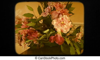 Bouquet Of Flowers and Basket With Wedding Decorations