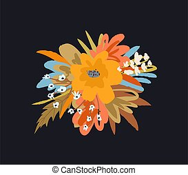 Bouquet of flowers and plants colorful composition. Vector retro trendy graphic decorative summer or spring design.