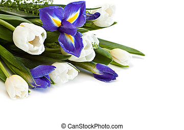 Beautiful bouquet of colorful flowers on a white background.