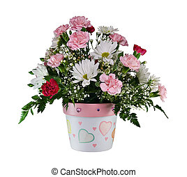 Bouquet of Flowers - Bouquet of flowers in a pot isolated on...