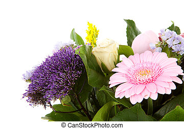 Bouquet of purple and pink flowers over white background