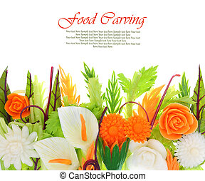 Bouquet of flowers carved from vegetables isolated on white