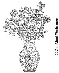 bouquet of flowers coloring vector for adults