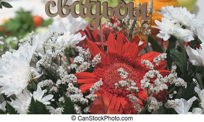 Bouquet of flowers from chrysanthemums. Close-up - A...