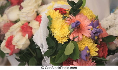 Bouquet of flowers from chrysanthemums and roses - A...