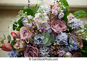 bouquet of flowers: green, blue, purple