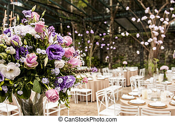 Bouquet of flowers in a ballroom party