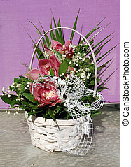Bouquet of flowers in a basket