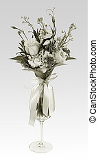 Bouquet of flowers in a glass