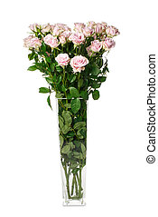 Bouquet of flowers in a glass vase isolated on a white background.