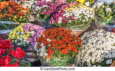 Bouquet of flowers in a street market