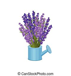 Bouquet of flowers in a watering can. Vector illustration.