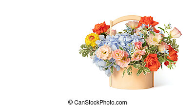 Bouquet of flowers in a wooden basket isolated on a white background. Spring flowers. Roses, eustoma, hydrangea composition. Space for text.