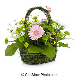 Bouquet of flowers in basket and butterfly
