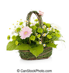 Bouquet of flowers in basket with butterfly