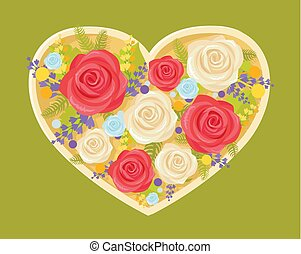 Bouquet of Flowers in Heart Vector Illustration