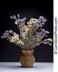 Bouquet of flowers in old vase