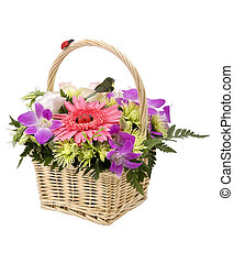 Bouquet of flowers in the basket, isolated on white.