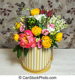 Bouquet of flowers in the box