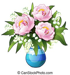 Bouquet of flowers lilies of the valley and peonies in a blue vase isolated on white background. Vector cartoon close-up illustration.
