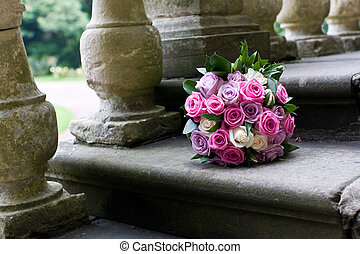 Bouquet of flowers on steps