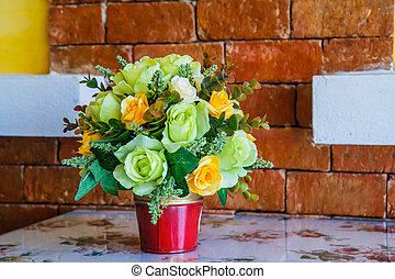Bouquet of flowers on the table