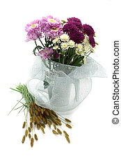 Bouquet of flowers on white background