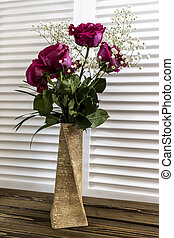 Bouquet of flowers Pink roses on wooden background