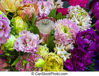 bouquet of flowers roses gerbera flowers carnations