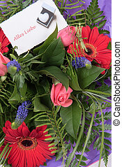 Bouquet of Flowers with card alles Liebe in german