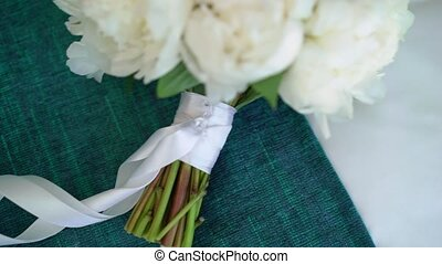 Bouquet of flowers with white peonies, bridal or wedding