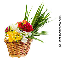 bouquet of freesias flowers in basket