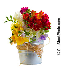 bouquet of freesias flowers in metal pot