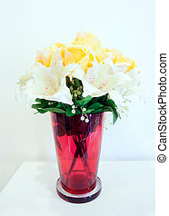 bouquet of fresh multicolored flowers in vase