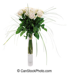 bouquet of fresh roses in a square glass vase, isolated on white background