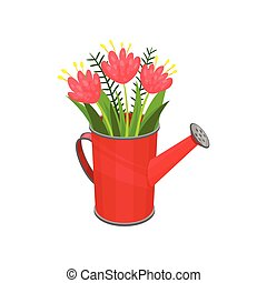 Bouquet of fresh spring flowers in bright red watering can. Cute natural composition. Flat vector icn