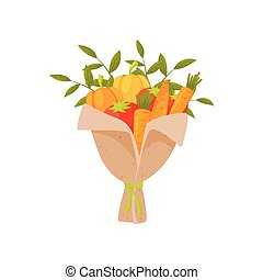 Bouquet of fresh vegetables in paper. Composition made of ripe bell pepper, tomatoes and carrot. Flat vector icon