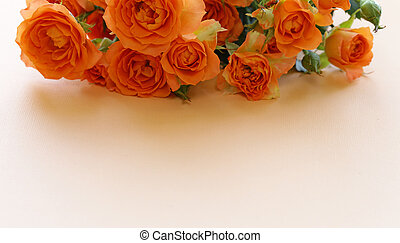 bouquet of fresh yellow roses for greeting card