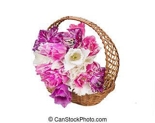 bouquet of fringed tulips in a wicker basket