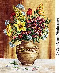 Bouquet of garden flowers in a c