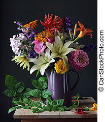 Bouquet of garden flowers in a jug. Still life.