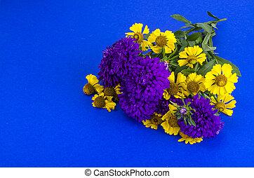 Bouquet of garden flowers on bright background