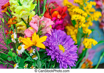 Bouquet of garden flowers on colorful background