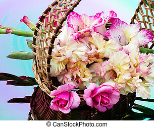bouquet of gladioli and roses