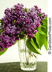 Bouquet of lilacs in a glass vase on a light background 1.