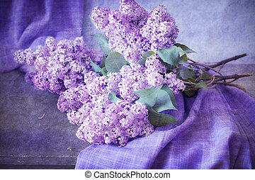 bouquet of lilacs on the table