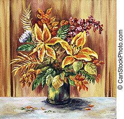 Bouquet of lilie - Picture oil paints on a canvas: a bouquet...