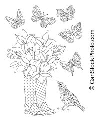 bouquet of lilies in rubber boots surrounded flying butterflies