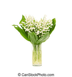 Bouquet of lily of the valley on white background